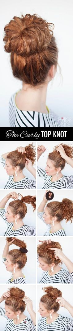 Pull hair into a curly top knot. | Hairstyle You Can Do In Less Than 5 Minutes