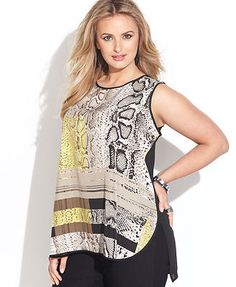 Vince Camuto Plus Size Sleeveless Mixed-Print Top Snakeskin Print #UNIQUE_WOMENS_FASHION