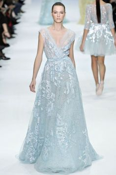 Shimmering pale blue wedding gown.  #blue #runway #couture #beauty #bridal #bridalgown #bride #wedding