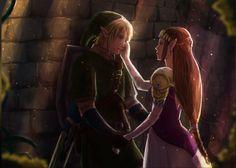 Link and Princess Zelda by AngelJasiel
