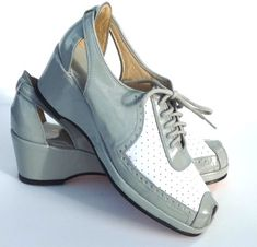 Remix Vintage Open Toe Spectator Wedge in Grey Patent & White Leather