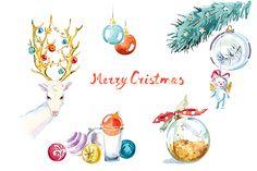 Watercolor Christmas clipart set ~ Illustrations on Creative Market