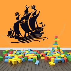 Pirate Ship Wall Decal (31in x 29in )