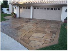 Driveway: concrete staining & engraving
