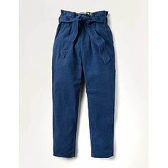 Soft and warm, these smart trousers are ready to take on chilly days. We've made them from pure cotton corduroy for classic texture and (of course) comfort. The paperbag waist comes with a matching tie belt for a secure finish. For a playful pop of colour, an in-house-designed floral lining peeps out from Trousers For Girls, Girls Pants, Tie Waist Trousers, Navy Girl, Boden Uk, Types Of Girls, Navy Women, Elegant, Jeans Pants