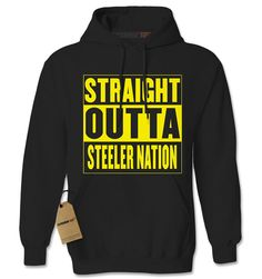 Expression Tees Straight Outta Steeler Nation Football Unisex Adult Hoodie *** For more information, visit image link.