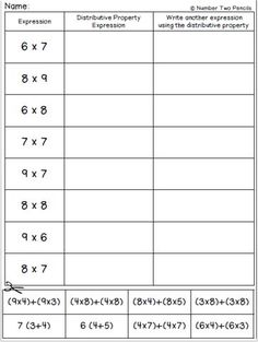 Use this quick little activity to help students practice matching multiplication expressions to those using the distributive property. Distributive Property Of Multiplication, Teaching Multiplication, Teaching Math, Maths Algebra, Teaching Ideas, Math Worksheets, Math Resources, Math Activities, Third Grade Math