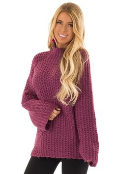 65e156be5eaf Plum Chunky Knit Pullover Sweater with Mock Neckline. Lime Lush Boutique