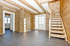 """Norwegian style log home """"EL"""" package. Total area is 196.5 m², built from 142 X 180mm rectangular log."""