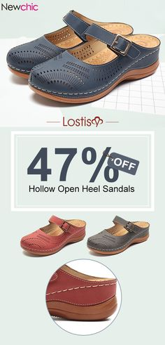 ead1721c7e Lostisy LOSTISY Metal Buckle Hollow Out Open Heel Casual Wedges Sandals is  comfortable to wear.