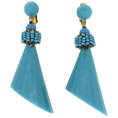 Preowned 1960s Turquoise Lucite Vintage Drop Earrings ($235) ❤ liked on Polyvore featuring jewelry, earrings, drop earrings, multiple, turquoise drop earrings, beaded earrings, filigree earrings, drop clip earrings and vintage earrings