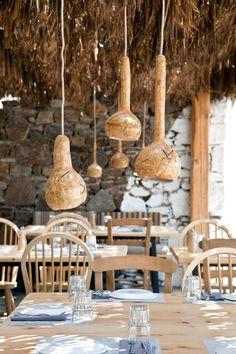 Alemagou Greek Tavern In Mykonos. Gorgeous greek tavern with a modern take in Mykonos Cafe Restaurant, Restaurant Design, Mykonos Restaurant, Seaside Restaurant, Home Design, Interior Design, Interior Decorating, Design Ideas, Decoration Home