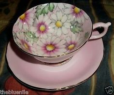 Hot Pink Floral Interior Decorated Wide Mouth Paragon Teacup Saucer Queen Mary | eBay