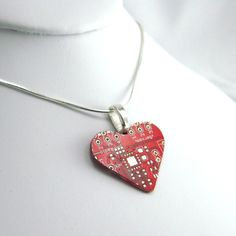 Tech Love Circuit Board Necklace — Red Heart — Unique Gift for Mothers and Girlfriends