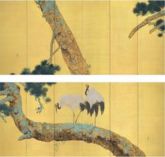 Yokoyama Taikan (1868-1958), Pine Trees and Cranes. Pair of six-panel screens. Ink, color, gold and gold leaf on paper. 67 x 151 18in. (170.2 x 383.9cm.) each (2) Estimate $150,000-200,000. Sold for $267,750 in the Japanese and Korean Art sale on 20 March 2013 at Christie's New York