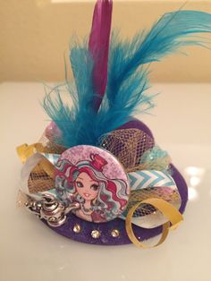 Ever After High, Madeline Hatter: Mini Hat Clip by FluffPrincessInc on Etsy https://www.etsy.com/listing/236807589/ever-after-high-madeline-hatter-mini-hat