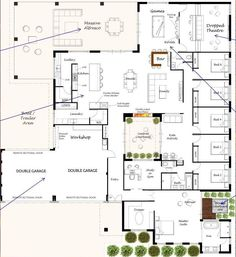 Loving this floor plan with internal courtyard. somewhere to hide on the days we don't feel like people'ing! 5 Bedroom House Plans, Family House Plans, Best House Plans, Dream House Plans, Modern House Plans, House Floor Plans, House Layout Plans, House Layouts, Building Plans