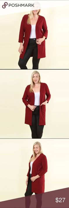 ❤️Plus Size❤️ Burgundy Longline Crepe Cardigan Solid 3/4 length sleeve long line cardigan with front square pockets. Length is 37 inches Sweaters Cardigans