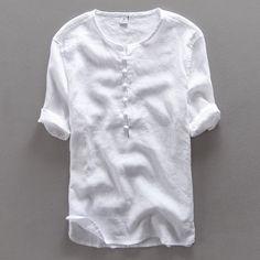 Chinese style simple fashion pure linen shirt men brand half sleeve summer men shirts casual flax white shirt mens camisa