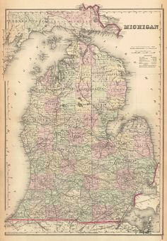 Map Antique County and Township Map of the States of Michigan and