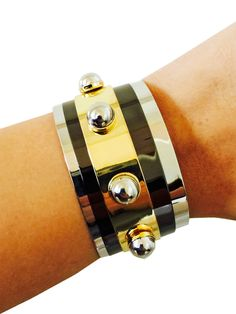 Fitbit Bracelet for FitBit Flex Activity Tracker - DONNA Gold, Silver, and Black Studded Fitbit Bracelet - FREE SHIPPING  | FUNKtional Wearables #Fitbit #Jewelry #Wearables