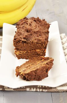 Chocolate Peanut Butter Banana Bread - Low fat, vegan, gluten free. Each slice has 130 calories, 8 grams of protein