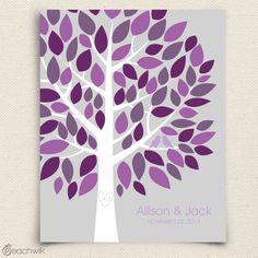 Wishwik Multi - Wedding Tree Guest Book / Guestbook - purple, eggplant, silver gray - Peachwik