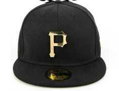 Custom NEW ERA x MLB「Pittsburgh Pirates Metal Black」59Fifty Fitted Baseball  Cap Fitted 3d408129f1f