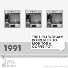 In 1991, the first Webcam is invented in the Cambridge University Computer Lab, allowing users to check coffee pot levels without moving. #Webby History