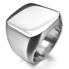 Men's Stainless Steel Ring Silver Signet Polished Biker - coupon tips Ring Ring, Signet Ring, Steampunk Rings, Mens Stainless Steel Rings, Steampunk Accessories, Jewelry Collection, Rings For Men, Silver Rings, Wedding Rings