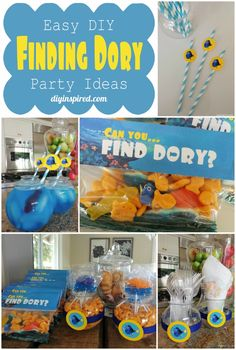 """Finding Dory Party Ideas plus FREE """"Find Dory"""" Party Favor Printable! #findingdory #ad"""