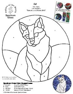 Free Stained Glass Pattern 2219-Cat