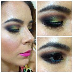 Orange, purple and green pigment Makeup