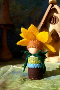 Sunflower Peg Doll by paintingpixie   Johanna Nichols via Sara Adams: ThisMomLoves... onto waldorf