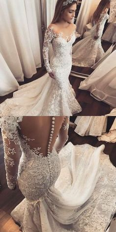 Mermaid Wedding Dresses,Illusion Wedding Dresses,Long Sleeves Wedding Dresses,Appliques Wedding Dresses,Wedding Dresses 2017 #weddingdressideas