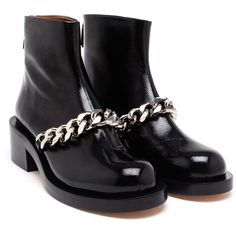 GIVENCHY Patent Leather Chain Boots (29 080 UAH) ❤ liked on Polyvore featuring shoes, boots, zipper boots, zip shoes, chain shoes, patent boots and round toe boots