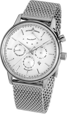 56d43d04e7c Jacques Lemans Unisex-Armbanduhr Nostalgie Analog Automatik Edelstahl  N-211C  Jacques Lemans  Amazon.de  Uhren