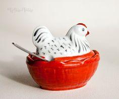 Vintage Retro FRENCH Peint Main Amog 1960/1970s Chicken Shaped Breakfast Salt Server by UpStagedVintage on Etsy