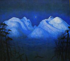 Winter Night in the Mountains by Harald Sohlberg 1914 Oil on Canvas (National Museum of Art Oslo Norway) Nocturne, Landscape Art, Landscape Paintings, Dulwich Picture Gallery, Illustration Art, Illustrations, Galleries In London, Berg, Scandinavian