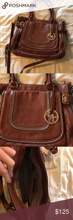 Michael Kors Purse Authentic mk purse. Brown w Gold. Crossbody strap. Still in great condition. Waterproof sprayed. Love this bag but I bought a new one. I'm not sure the name of this one. Michael Kors Bags Crossbody Bags
