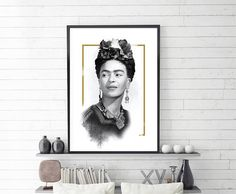 Frida Kahlo Portrait, elegant decoration for every home or office.  Digital download. No waiting for shipping. A quick and affordable way to add beautiful new artworks to your walls.  WHAT YOU WILL RECEIVE:  1) 4:5 ratio file for printing: Inch: 4x5, 8x10, 11x14, 12x15, 16x20 Cm: 10x12, 20x25, 28x35, 30x38, 40x50  2) 3:4 ratio file for printing:  Inch: 6x8, 9x12, 12x16, 15x20, 18x24 Cm: 15x20, 22x30, 30x40, 38x50, 45x60  3) 2:3 ratio file for printing: Inch: 4x6, 6x9, 8x12, 10x15, 12x18…
