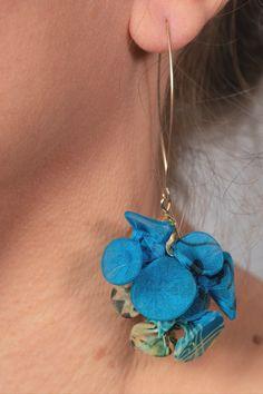 Fabric Earrings, Chunky Funky Blue Handmade Earrings For Women, Unique Long Bohemian Dangle Earrings #fungistudio #fabricearrings #dangleearrings #LongEarrings #StatementEarrings #FunkyEarrings #Avantgardejewelry