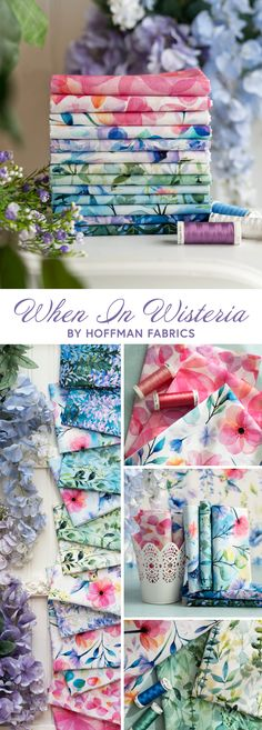 When in Wisteria is a beautiful watercolor floral collection by Hoffman Fabrics! 100% cotton. This fabric is digitally printed, giving it brighter, more vibrant colors and beautiful detail not available in traditional, screenprinted fabrics. Shabby Fabrics, Wisteria, Floral Watercolor, Screen Printing, Sewing Projects, Vibrant Colors, Quilts, Traditional, Detail