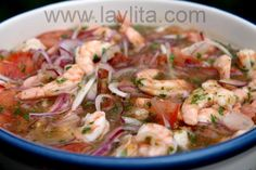 Shrimp ceviche my husbands favorite Ecuadorian food Authentic Mexican Recipes, Mexican Dinner Recipes, Mexican Desserts, Raw Food Recipes, Seafood Recipes, Cooking Recipes, Healthy Recipes, Freezer Recipes, Freezer Cooking