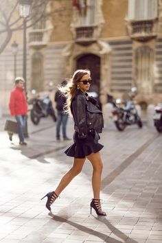 Black skirt and leather Jacket  http://lifeandcity.tumblr.com