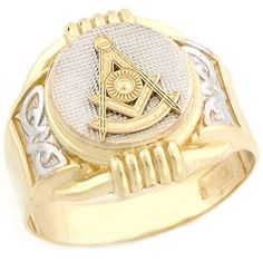 14k Two Tone Real Gold Past Master Freemason Masonic Round Mans Ring - Jewelry Liquidation Number: R4T6327XX0-1000 - Size 10.00...