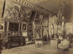 Permanent exhibition of the Stabilimento d'arti decorative e industriali in Palais Balbi. Guggenheim furniture, ancient paintings and antiquities. Architectural Antiques, Michelangelo, Antiquities, Venice Italy, 16th Century, Venetian, Palazzo, Furniture Sets, Paintings