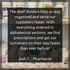 Offering premium customizable drawer dividers, shelf dividers and file kits to get your home, office or pharmacy organized. Shelf Dividers, Staying Organized, Drawers, Shelves, Organization, Getting Organized, Shelving, Organisation, Shelving Racks