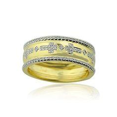 0546c2c1ee5c rings-midwestjewellery. com de la mujer 10 K oro anillos de boda con Cruz  1 4Ctw diamantes 6 mm de ancho dos tonos