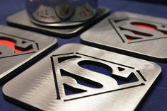 Superman Coasters Set of 4, Man of Steel, Father's Day on Etsy, $29.95